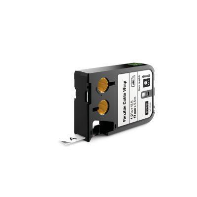 "Dymo labelprinter tape: XTL 1/2"" (12 mm) flexibele kabelwikkel, zwart op wit"