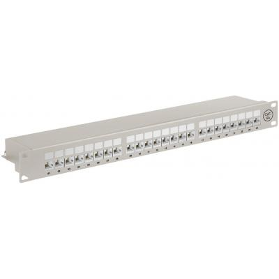 Wentronic patch panel: CAT 6a 19inch Patch Panel, 24 Port - STP shielded, grey - Grijs