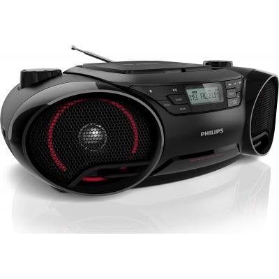 Philips CD speler: CD-soundmachine, LCD, 5W RMS, FM, MW, zwart/rood - Zwart, Rood