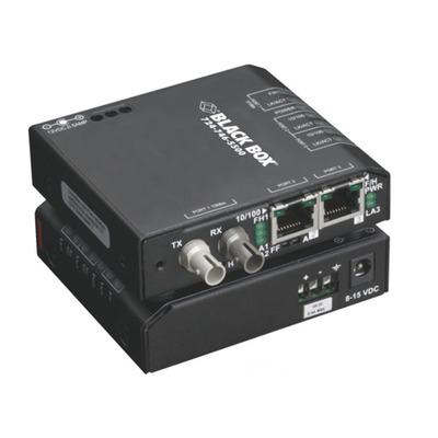 Black Box Hardened Media Converter, 10/100Mbps Copper to 100-Mbps Fiber, SC, Multimode, 100 - 240VAC Switch - .....