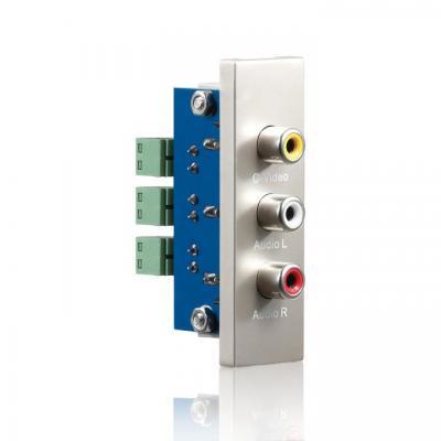 PureLink ID-WP-MOD-RC - conection plate C Video + Audio, 22x68 mm Wandcontactdoos - Metallic