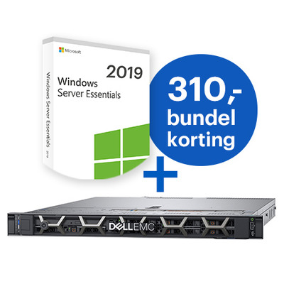 DELL PowerEdge R440 + Microsoft Windows 2019 Essentials bundel Server - Zwart