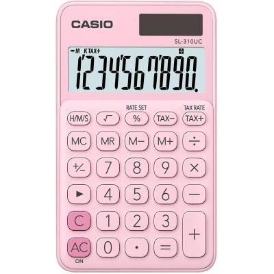 Casio 10 digits, Solar + Battery, Tax/Time calculation, 50 g Calculator - Roze