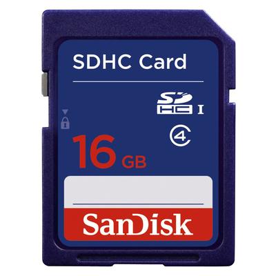 Sandisk SDHC, 16GB, C4 Flashgeheugen - Blauw