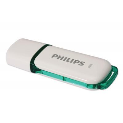 Philips USB flash drive: USB Flash Drive FM08FD70B/10 - Groen, Wit