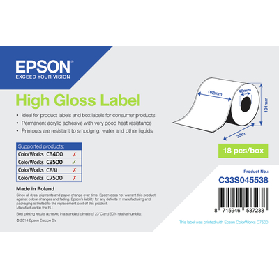 Epson etiket: High Gloss Label - Continuous Roll: 102mm x 33m