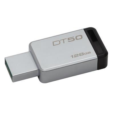 Kingston technology USB flash drive: DataTraveler 50 128GB - Zwart, Zilver