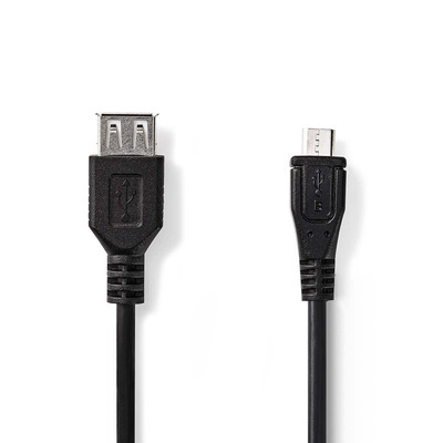 Nedis USB 2.0-Kabel, Micro-B Male - A Female, 0,2 m, Zwart USB kabel