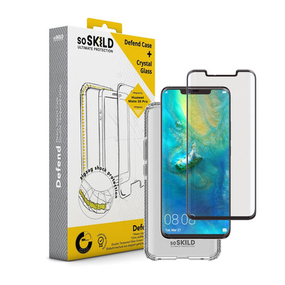 SoSkild Huawei Mate 20 Pro Defend Heavy Impact Case Transparant en Tempered Glass Transparant Mobile phone case