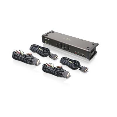 Iogear 4 ports, 1920 x 1200, DVI-I, USB 2.0 A, USB 2.0 B, DDC2B, 2.1 Stereo, Microphone, LEDs KVM switch - Grijs