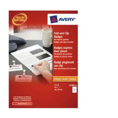 Avery etiket: Vouw en Klik Naambadges, wit, afneembaar, Papier, 60,0 x 90,0 mm