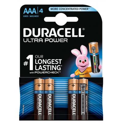 Duracell batterij: Ultra Power alkaline AAA-batterijen, verpakking van 4 - Zwart, Goud