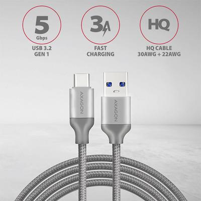 Axagon USB-C USB-A 3.2 Gen 1 cable, 2 m USB kabel - Grijs