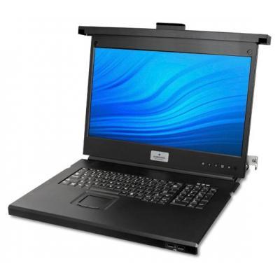 "Avocent rack console: 18.5"" LED (1366 x 768), 103-Key Keyboard, USB KB, 2x USB Pass-through, FRA, 1U - Zwart"