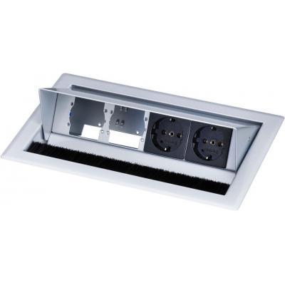 Kindermann Desktop Casing for 4 Insets-RAL 9006, 2x mains socket (Schuko) Inbouweenheid - Zwart, Grijs