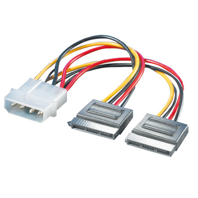ROLINE Y-Adapterkabel 4 pol. HDD / 2x SATA - Zwart, Rood, Wit, Geel