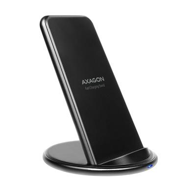 Axagon WDC-S10D Dual coil Wireless Charging Stand, Qi standard 5/7.5/10W, micro USB input Oplader - Zwart