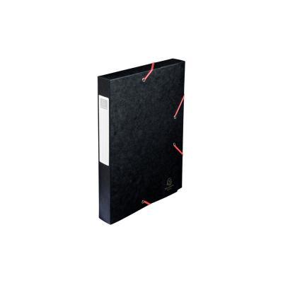Exacompta archiefdoos: Archiefdoos plat geleverd Cartobox Rug 40mm versterkt karton - A4 - Zwart