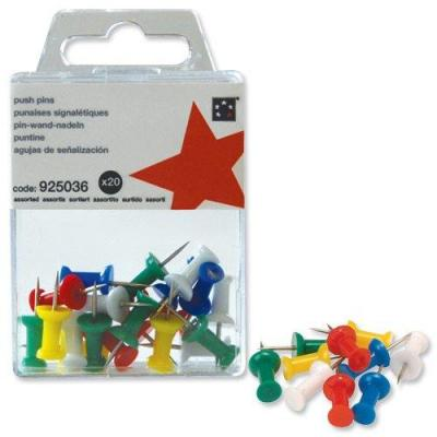 5star punaise: Push Pins Assorted Opaque, Pack of 20 - Veelkleurig