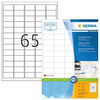 Herma etiket: Adresetiketten Premium A4 38.1x21.2 mm ronde hoeken wit papier mat 6500 st.