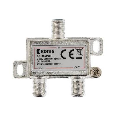 König kabel splitter of combiner: 2-wegs F-splitter satelliet 5 - 2400 MHz - Zilver