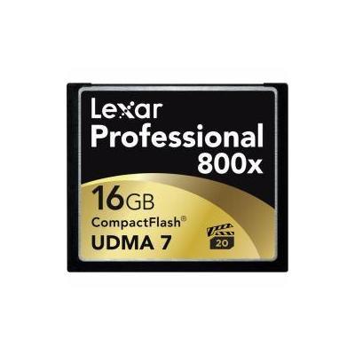 Lexar flashgeheugen: CF 16GB 800x Professional - Zwart, Goud