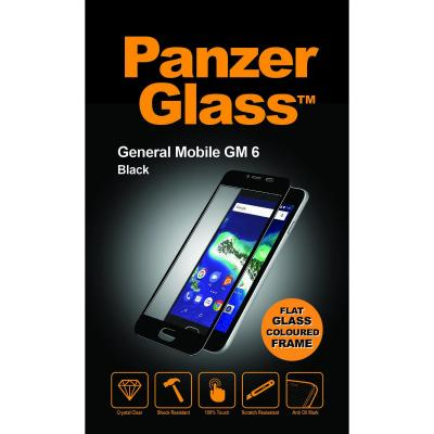PanzerGlass Crystal Clear, General Mobile GM6, Black Screen protector - Zwart