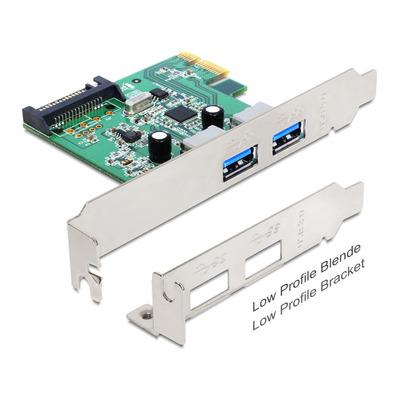 DeLOCK PCI Express Card > 2 x USB 3.0 Interfaceadapter - Groen,Zilver
