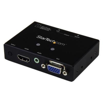 Startech.com video switch: 2x1 VGA + HDMI naar VGA converter switch met prioriteitsomschakeling   1080p - Zwart