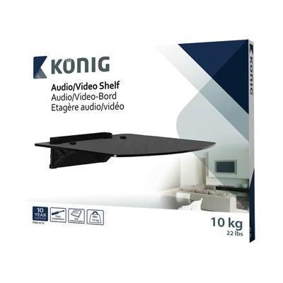 König : Audio/video shelf tempered glass, 10 kg - Zwart