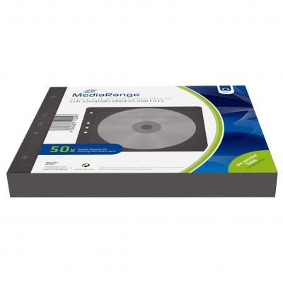 Mediarange : Fleece sleeves for 2 discs, for standard binders and files, black, Pack 50 - Zwart