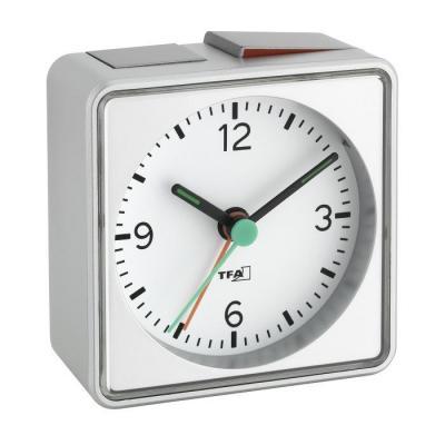 Tfa mantel/tafel klok: PUSH - Zilver
