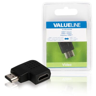 Valueline HDMI adapter HDMI connector rechts gehoekt - HDMI input zwart Kabel adapter