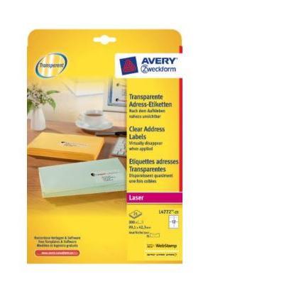 Avery transparanteten QuickPEEL ft 99,1 x 42,3 mm (b x h), 300 stuks, 12 per blad Etiket