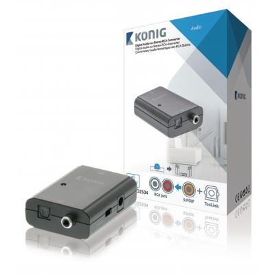 König audio converter: Digital Audio Converter 1x TosLink Female + 1x S/PDIF (RCA) Female - 2x RCA Female Dark .....