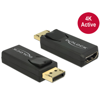 DeLOCK Adapter Displayport 1.2 male > HDMI female 4K Active black Kabel adapter - Zwart