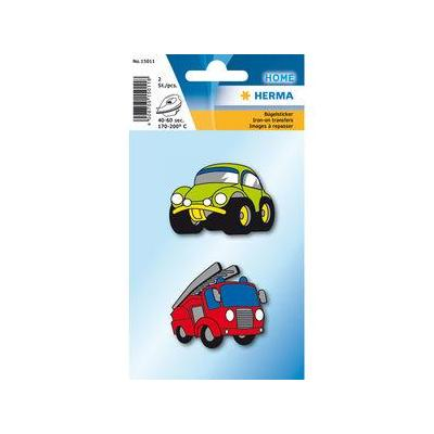 Herma naaiaccessoire: 2 pcs, 40-60s, 170-200°C, Iron on stickre cars - Multi kleuren
