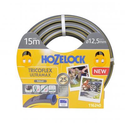 Hozelock tuinslang: Tricoflex Ultramax slang Ø 12.5 mm 15 meter - Grijs, Geel