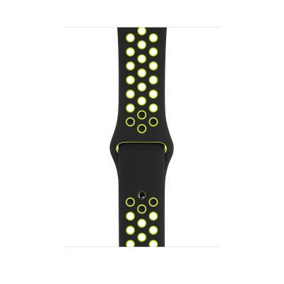 Apple : Sportbandje van Nike - Zwart/volt (44 mm) - S/M en M/L - Zwart, Groen