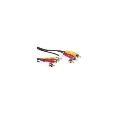 Advanced cable technology : 5 meter 3 x Tulp male naar 3x Tulp male kabel - Zwart
