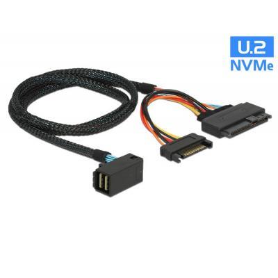 Delock kabel: 0.75m, SFF-8643/U.2 SFF-8639+SATA - Zwart