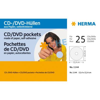 Herma : CD/DVD pockets made of paper white with adhesive dot 25 pcs.