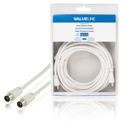 Valueline Coax antennekabel, coax mannelijk - coax mannelijk, 10.0 m, wit Coax kabel