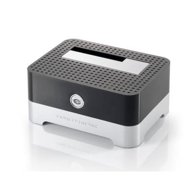 Conceptronic HDD/SSD docking station: 2.5/3.5 inch Hard Disk Docking Station USB 2.0 - Zwart, Zilver