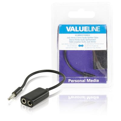 Valueline Jack stereo audiosplitterkabel 3.5 mm mannelijk - 2x 3.5 mm vrouwelijk zwart 0.20 m