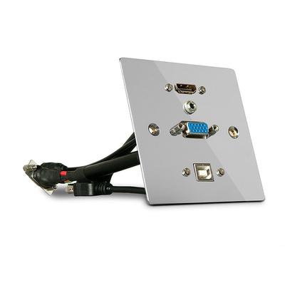 Lindy Single Gang VGA, HDMI, USB, Audio Wall Plate, Metal Wandcontactdoos - Zilver