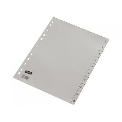 Staples schutkaart: Tabblad SPLS A4 11r 1-10 pp grijs/set 10