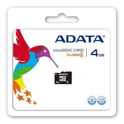 Adata flashgeheugen: 4GB microSDHC - Zwart