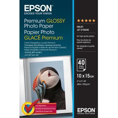 Epson fotopapier: Premium Glossy Photo Paper, 100 x 150 mm, 255g/m², 40 Vel - Wit