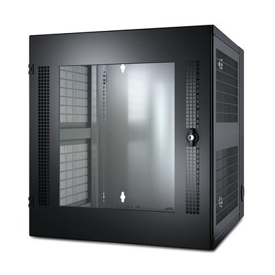 APC NetShelter WX AR100 13U/HE hoog, 19inch Wandkast, Muurbevestiging, Glazen deur Rack - Zwart